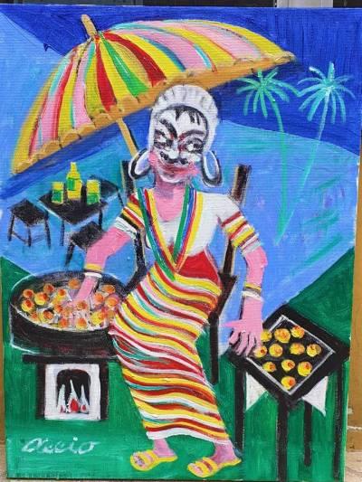 Aécio artista naif tema vendedora de acarajé medida 40x30
