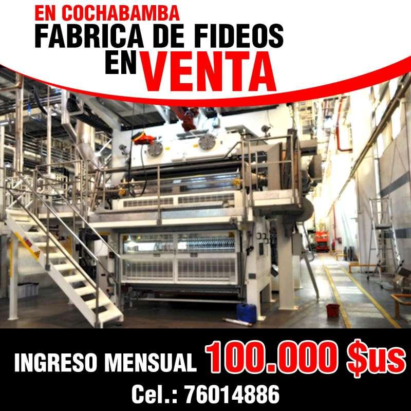 VENDO FABRICA DE FIDEOS CON EXCELENTES INGRESOS COCHABAMBA